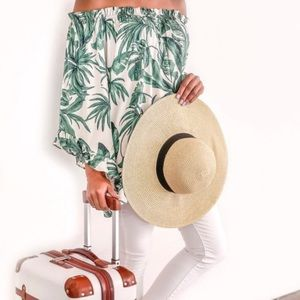 H&M | Tropical Off Shoulder Shirt Palm Leaf